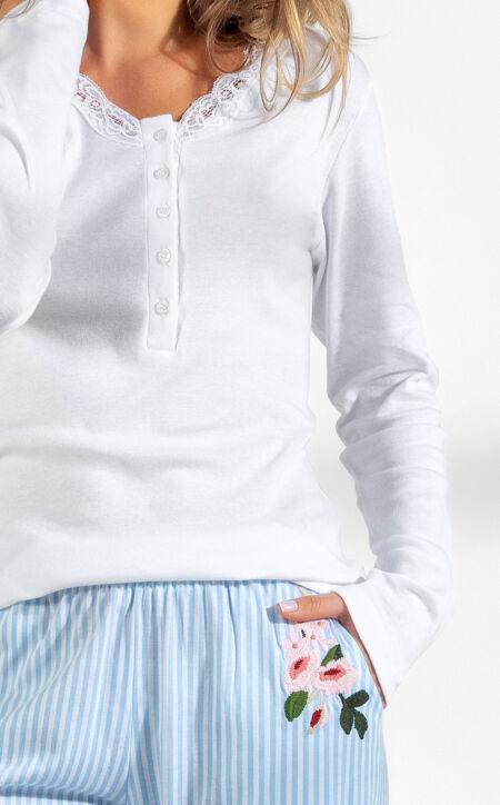 Pijama Blusa Manga Longa Peitilho com Calça