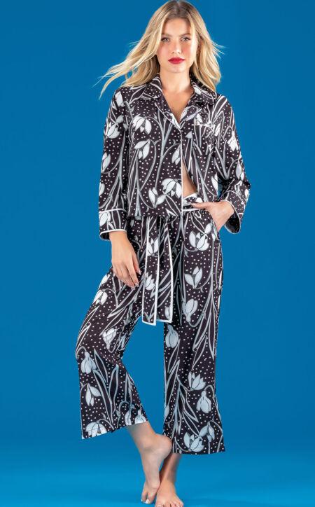 Pijama Cardigan Manga Longa com Capri