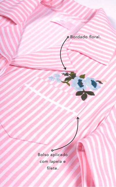 Pijama Cardigan Manga Longa com Calça