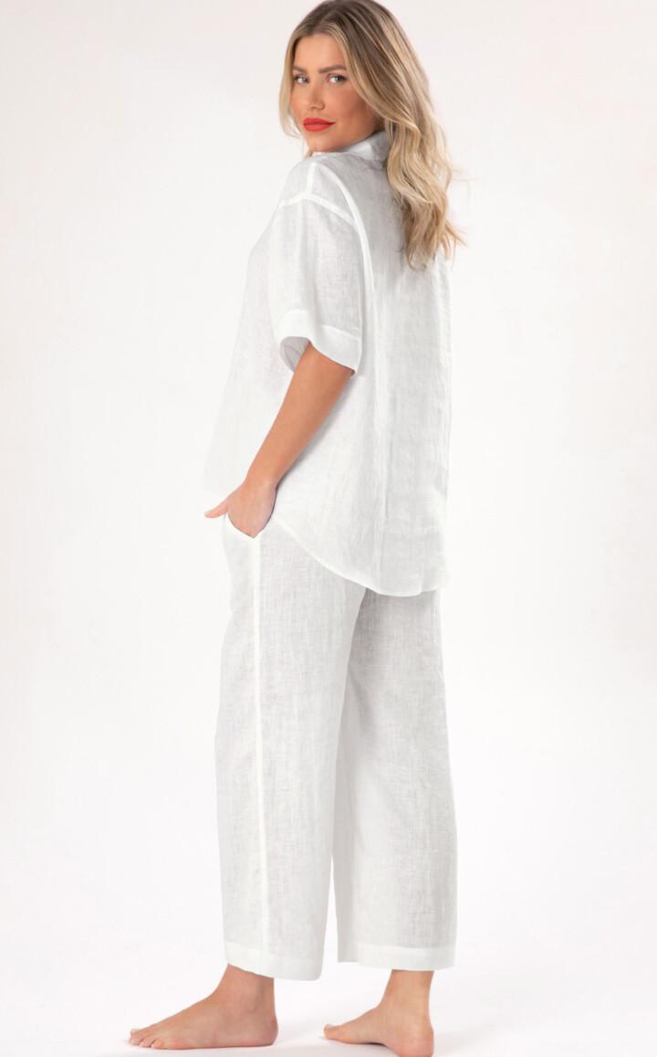 Pijama Cardigan Manga Curta com Calça de Puro Linho