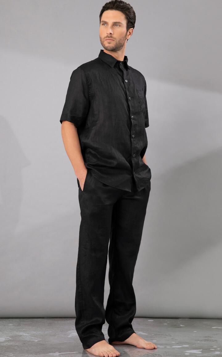 Cardigan Masculino com Calça de Puro Linho Black